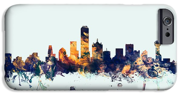 United States iPhone Cases - Dallas Texas Skyline iPhone Case by Michael Tompsett