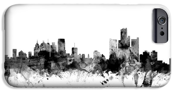 United States iPhone Cases - Detroit Michigan Skyline iPhone Case by Michael Tompsett