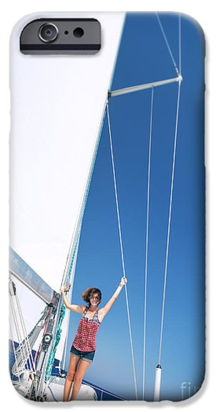 Sailboat Ocean iPhone Cases - Happy woman on sailboat iPhone Case by Anna Omelchenko