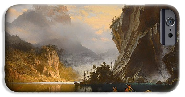 Canoe Waterfall Paintings iPhone Cases - Indians Spear Fishing iPhone Case by Albert Bierstadt