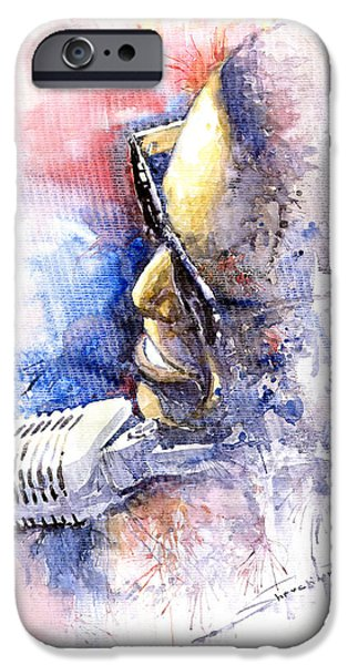 Rays Paintings iPhone Cases - Jazz Ray Charles iPhone Case by Yuriy  Shevchuk