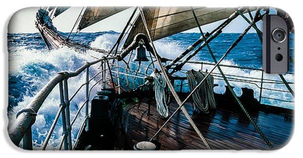 Sailing iPhone Cases - Kruzenshtern EX. Padua four-masted barque Russia iPhone Case by Maslyaev Yury