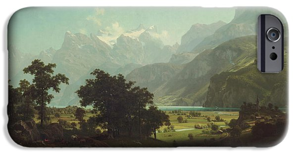 Swiss Landscape iPhone Cases - Lake Lucerne iPhone Case by Albert Bierstadt