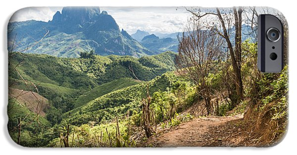 Rainy Day iPhone Cases - Landscape around Kasi in North Laos iPhone Case by Didier Marti