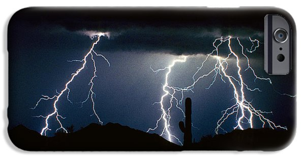 Thunderhead iPhone Cases - 4 Lightning Bolts Fine Art Photography Print iPhone Case by James BO  Insogna