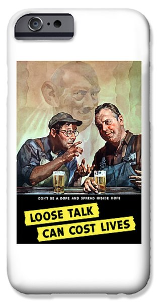 Caricatures iPhone Cases - Loose Talk Can Cost Lives iPhone Case by War Is Hell Store