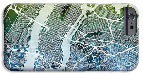 Queen Digital iPhone Cases - New York City Street Map iPhone Case by Michael Tompsett