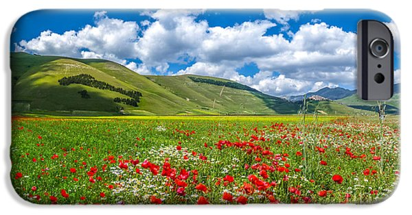 Piano iPhone Cases - Piano Grande summer landscape, Umbria, Italy iPhone Case by JR Photography