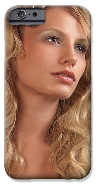 Portrait of a Beautiful Young Woman iPhone Case by Oleksiy Maksymenko
