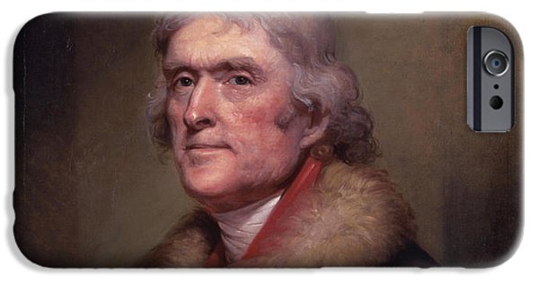 4th July Paintings iPhone Cases - President Thomas Jefferson iPhone Case by War Is Hell Store