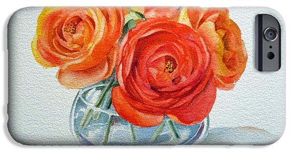 Glass Vase iPhone Cases - Ranunculus iPhone Case by Irina Sztukowski