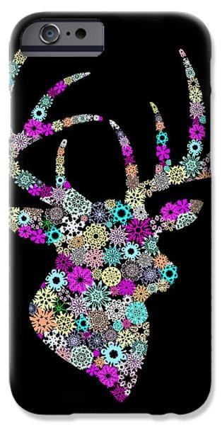 Animal Cards Digital iPhone Cases - Reindeer Design By Snowflakes iPhone Case by Setsiri Silapasuwanchai