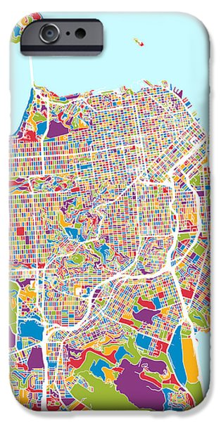 San Francisco Street iPhone Cases - San Francisco City Street Map iPhone Case by Michael Tompsett