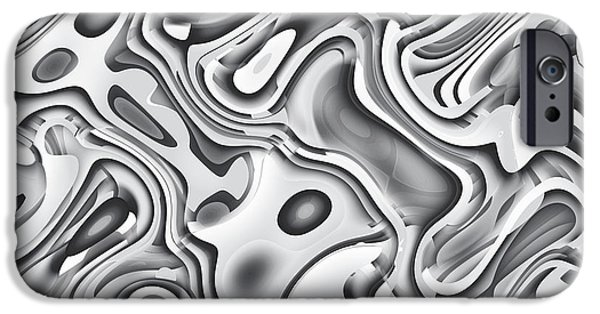 Abstractions iPhone Cases - Seamless Abstract Black and White iPhone Case by Phairot Mulnoisu