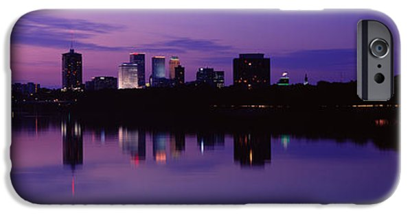 Arkansas iPhone Cases - Silhouette Of Buildings iPhone Case by Panoramic Images