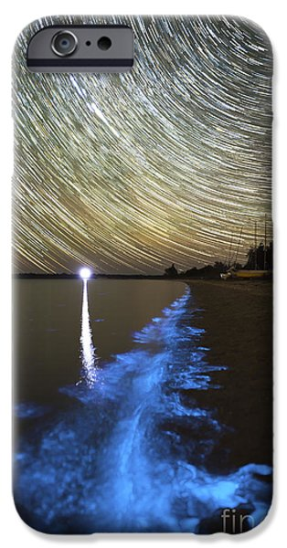 Plankton iPhone Cases - Star Trails And Bioluminescence iPhone Case by Philip Hart