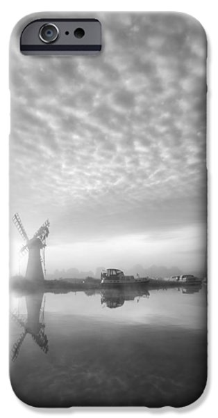 Boat iPhone Cases - Stunnnig landscape of windmill and river at dawn in black and wh iPhone Case by Matthew Gibson