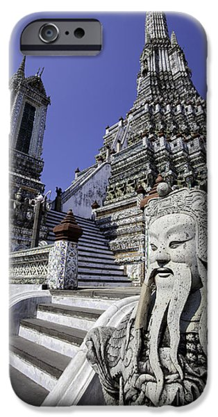 Built Structure iPhone Cases - Temple Detail in Bangkok Thialand iPhone Case by Anthony Totah