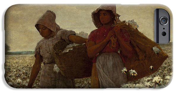 Slave Paintings iPhone Cases - The Cotton Pickers iPhone Case by Winslow Homer