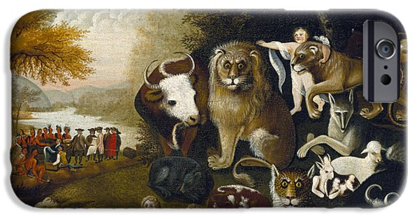 The Tiger iPhone Cases - The Peaceable Kingdom iPhone Case by Edward Hicks