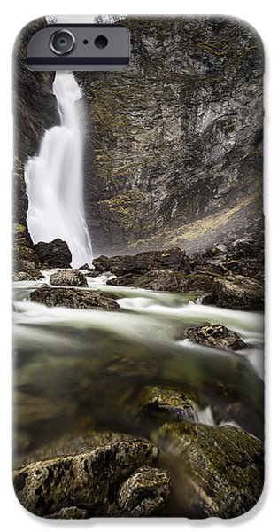 Norway iPhone Cases - The Waterfall iPhone Case by Fred Gramoso