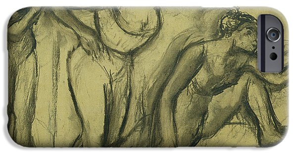 Green Pastels iPhone Cases - Three Dancers iPhone Case by Edgar Degas