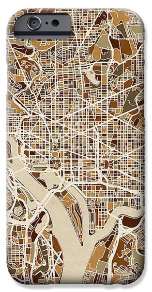 District iPhone Cases - Washington DC Street Map iPhone Case by Michael Tompsett