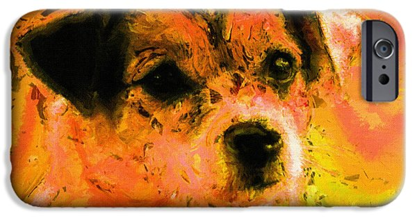 Dog Prints Digital iPhone Cases - Dog Portrait Art Print iPhone Case by Victor Gladkiy