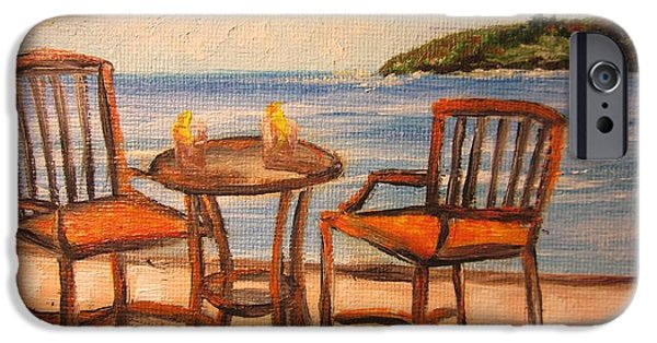 Patio Table And Chairs iPhone Cases - 430 b Please -Relax and Sit iPhone Case by Sigrid Tune