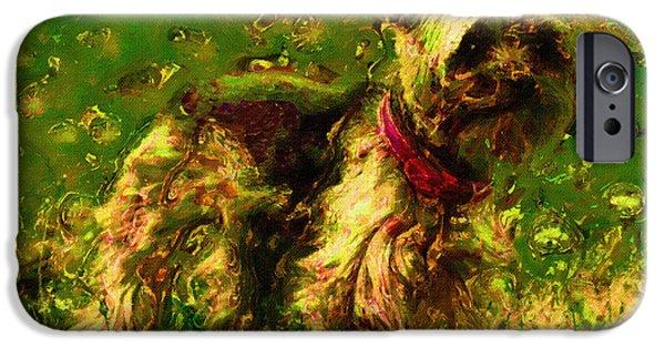 Pet Portraits Digital Art iPhone Cases - Dog Portrait Art Print iPhone Case by Victor Gladkiy