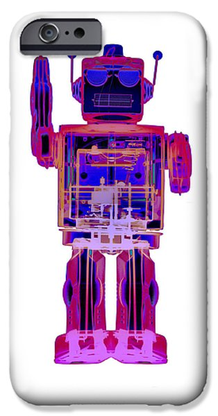 Toy Store iPhone Cases - 4N0D3 X-ray Robot Art No. 2 iPhone Case by Roy Livingston