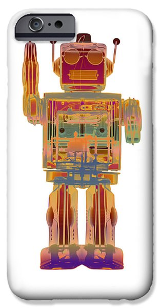 Toy Store iPhone Cases - 4N0D3 X-ray Robot  iPhone Case by Roy Livingston
