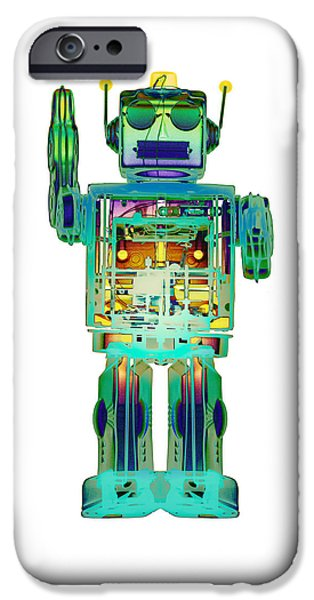 Toy Store iPhone Cases - 4N0D3X-ray Robot Art iPhone Case by Roy Livingston