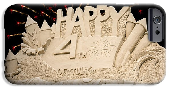 Fourth Of July iPhone Cases - 4th Blue Water Sand Sculpture iPhone Case by LeeAnn McLaneGoetz McLaneGoetzStudioLLCcom