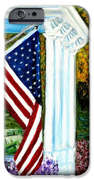4th July Paintings iPhone Cases - 4th of July American Flag Home of the Brave iPhone Case by Katy Hawk