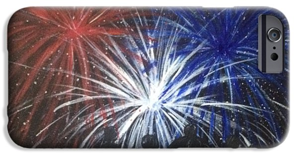 4th July Paintings iPhone Cases - 4th of July Fireworks iPhone Case by Sherri Howard