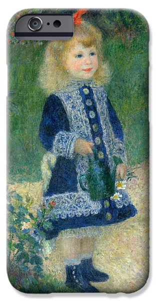 Little Girl iPhone Cases - A Girl with a Watering Can iPhone Case by Auguste Renoir
