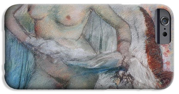 Pastel iPhone Cases - After the Bath iPhone Case by Edgar Degas