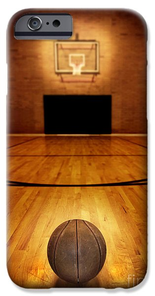 Sports iPhone Cases - Basketball and Basketball Court iPhone Case by Lane Erickson