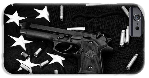 Weapon iPhone Cases - Beretta Handgun Lying On Balaclava And United States Of America Flag iPhone Case by Joe Fox