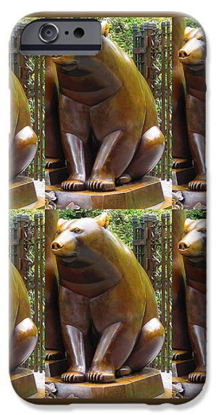 Usa Sculptures iPhone Cases - Bronze Statue Sculpture of Bear Clapping FineArt Photography from NewYork Museum USA FineArtAmerica iPhone Case by Navin Joshi