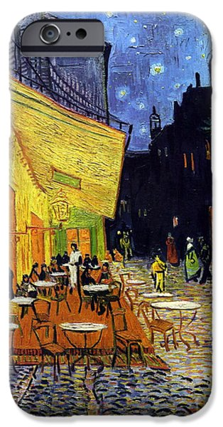 Starry Night iPhone Cases - Cafe Terrace At Night iPhone Case by Vincent Van Gogh