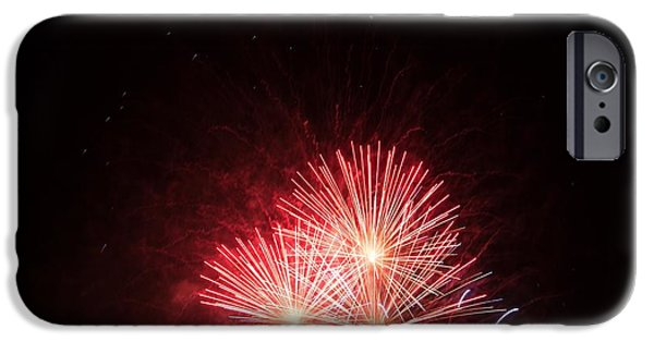 4th July Pyrography iPhone Cases - Fireworks iPhone Case by Erich Boehm