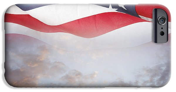 American Flag iPhone Cases - Flag and sky iPhone Case by Les Cunliffe