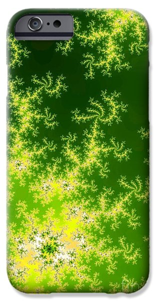 Green Surreal Geometry iPhone Cases - Glowing Green Fractal iPhone Case by Henrik Lehnerer