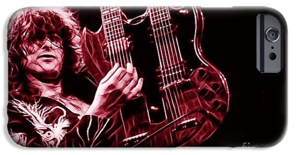 Robert Plant iPhone Cases - Jimmy Page Collection iPhone Case by Marvin Blaine
