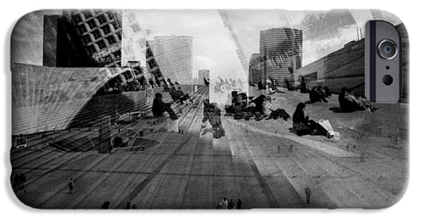 Monotone Pyrography iPhone Cases - Paris La Defence. iPhone Case by Cyril Jayant