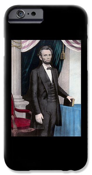 16th President Mixed Media iPhone Cases - President Abraham Lincoln iPhone Case by War Is Hell Store