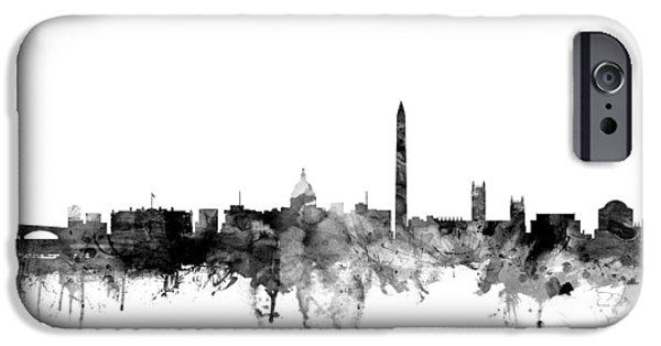 Washington Dc iPhone Cases - Washington DC Skyline iPhone Case by Michael Tompsett