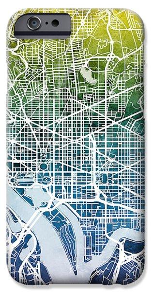 Washington Dc iPhone Cases - Washington DC Street Map iPhone Case by Michael Tompsett